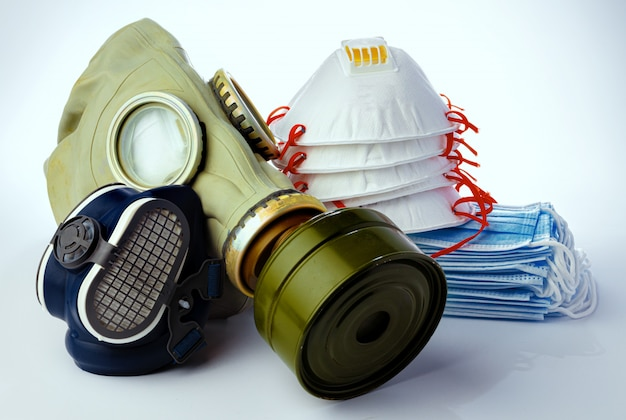 Antiviral protective means including masks on white background