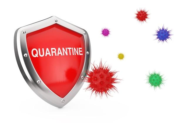 Концепция антивирусного карантина. карантинный щит, защищенный от вирусов или бактерий на белом фоне. 3d рендеринг