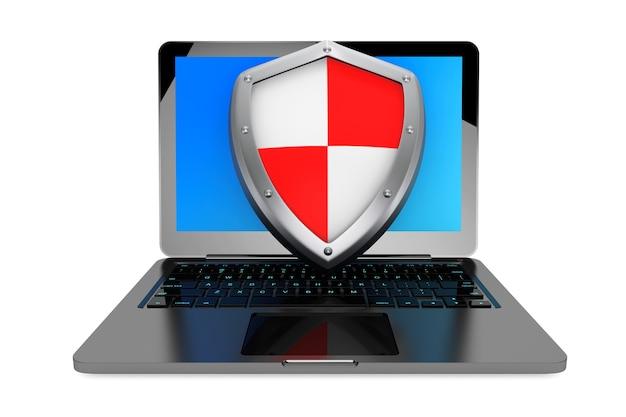 Концепция антивируса. портативный компьютер защищен щитом на белом фоне