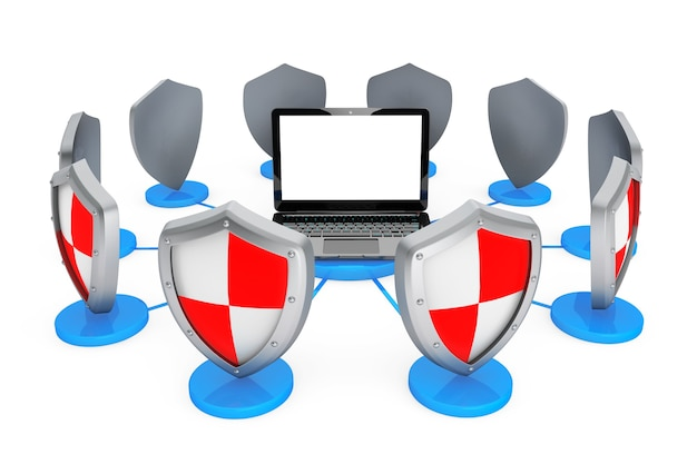 Концепция антивируса. портативный компьютер, защищенный щитами на белом фоне
