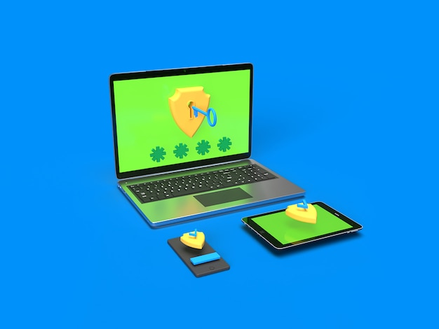 Antivirus security shield software on laptop, smartphone and tablet with blue background rendered