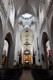 Antwerp, belgium - october 2, 2019: interiors, paintings, stained glass and details of notre dame d'anvers cathedral in antwerp, flemish region, belgium