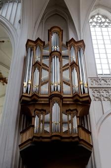 Antwerp, belgium - october 2, 2019: organ notre dame d'anvers cathedral in antwerp, flemish region, belgium