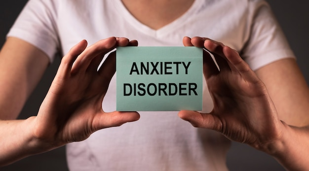 Anxiety disorder diagnosis concept. words about mental health.