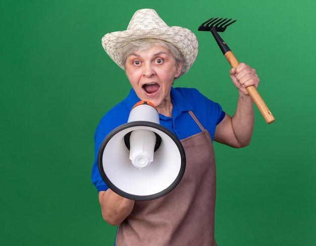 갈퀴를 들고 원예용 모자를 쓰고 복사 공간이 있는 녹색 벽에 격리된 큰 스피커에 소리를 지르는 불안한 노인 여성 정원사