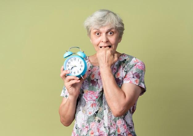 気になる年配の女性がオリーブグリーンの壁に分離された目覚まし時計を保持している拳を噛む
