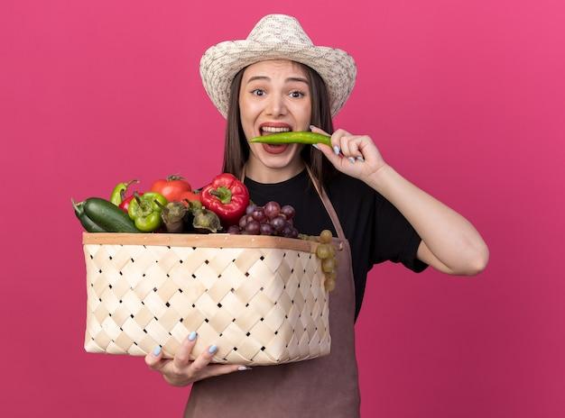 Giardiniere femminile piuttosto caucasico ansioso che indossa cappello da giardinaggio che tiene cesto di verdure e morde peperoncino isolato sulla parete rosa con spazio di copia