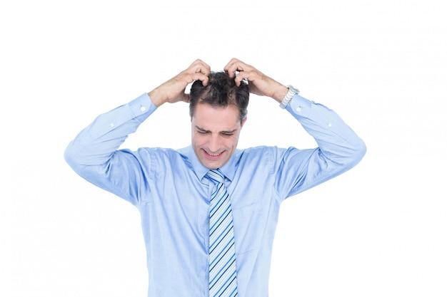Anxious white hair businessman against a white screen