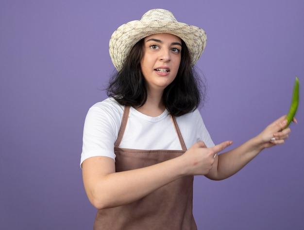 Il giardiniere femminile castana giovane ansioso in cappello da giardinaggio d'uso uniforme tiene e indica il peperoncino isolato sulla parete viola