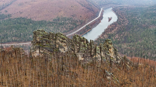 Anyu pillars. khabarovsk territory. rocks nadge. anyu river. beautiful rocky grey textured background