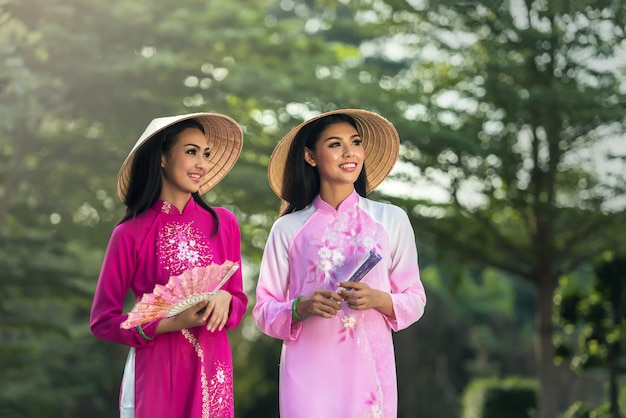 Ao dai is famous traditional costume for woman in vietnam