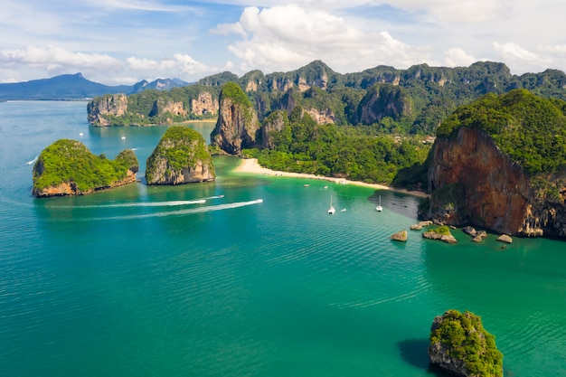 Ao nang and rai lay with pranang beach aerial landscape view