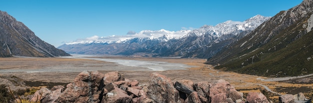 아오 라키 / 마운트 쿡 국립 공원 gammack 뉴질랜드 태즈 만 호수 경계에서 출발