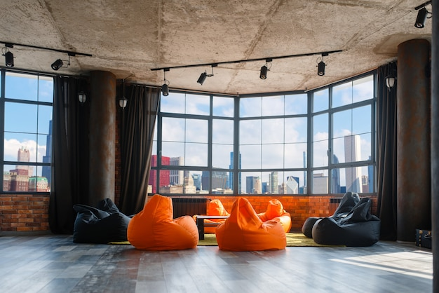 Apartment studio with panoramic cityscape view