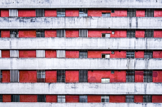 Apartment window and wall at day in the taipei city, taiwan.