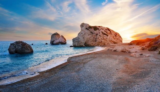 Aphrodite's beach and stone at sunset