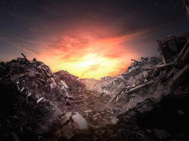 Apocalypse rubble at sunset