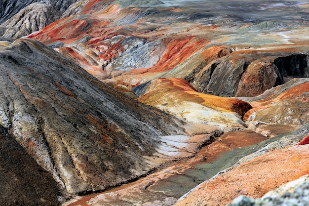 Apocalyptic landscape like a planet mars surface. solidified red-brown black earth surface. barren, cracked and scorched land. global warming concept.