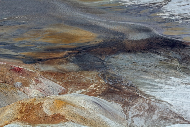 Apocalyptic landscape like a planet mars surface. solidified red-brown black earth surface. barren, cracked and scorched land.