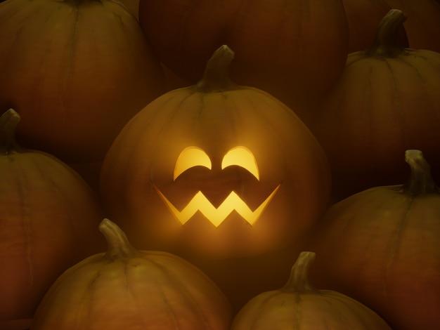 사과의 눈 미소 조각 호박 얼굴 이모티콘 3d 그림 렌더링 어두운 조명