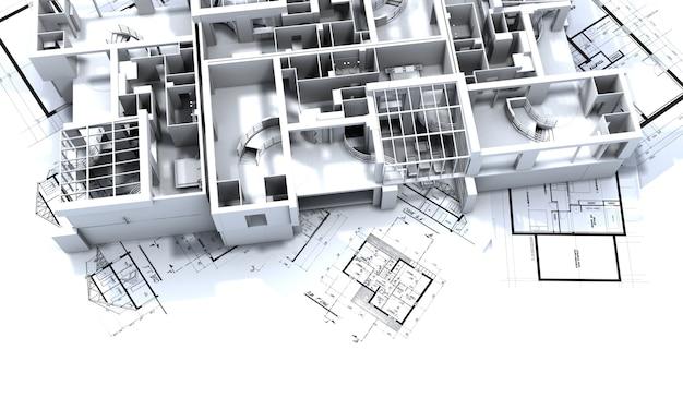 Макет квартиры поверх чертежей архитектора