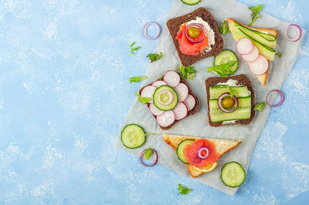Appetizer, open sandwich with different toppings: salmon and vegetables on a paper on blue background. traditional italian or scandinavian snack. healthy eating. close up, copy space for text