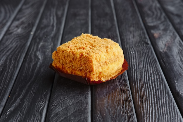 Appetizer for reception. tiramisu, caramel cake in breading