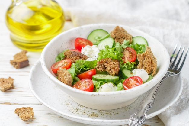 Appetizer of tomatoes, cucumbers, lettuce, mozzarella and bread