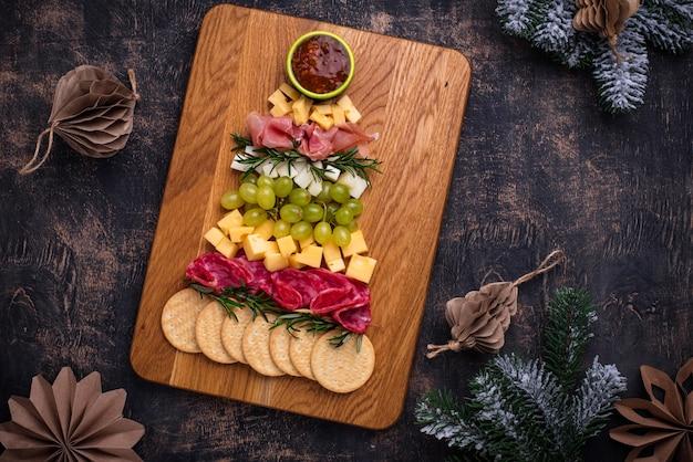Тарелка закусок в форме елки