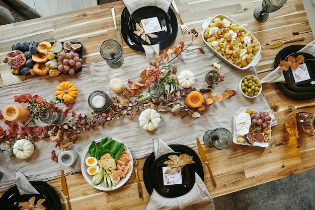 Appetizers serving on dining table