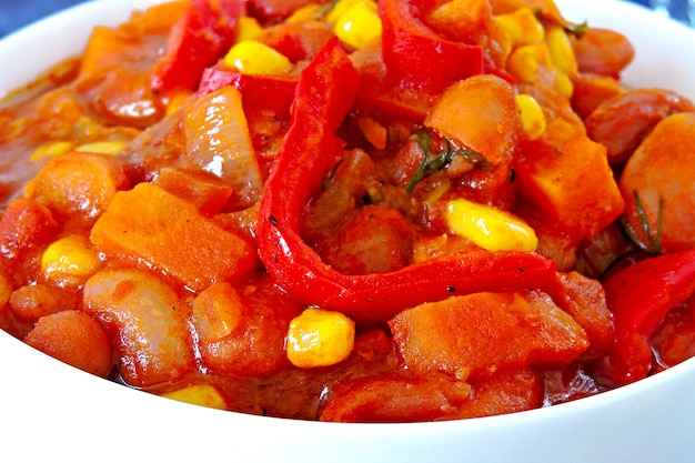Appetizing beans with vegetables and mexican style.