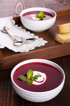Appetizing beetroot soup