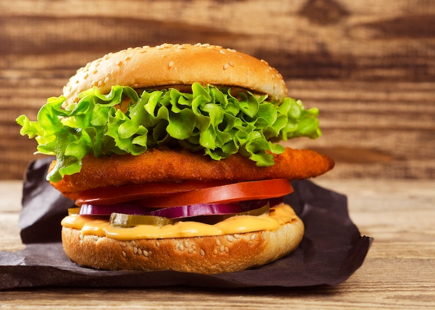 Appetizing burger on a wooden background 33