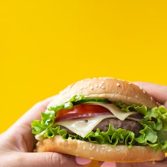 Appetizing burger on yellow background