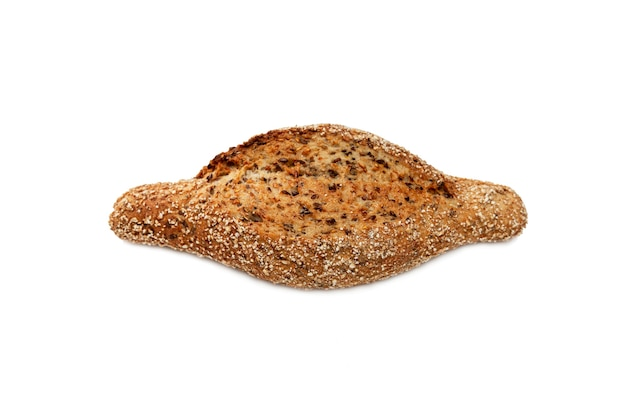 Appetizing cereal bread on an isolated white surface. top view.