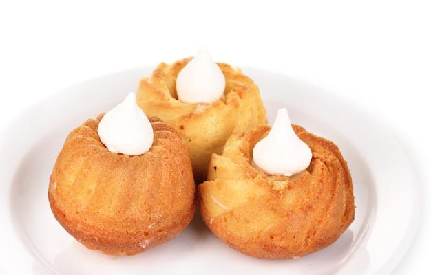 크림 흰색 절연 식욕을 돋 우는 컵 케이크