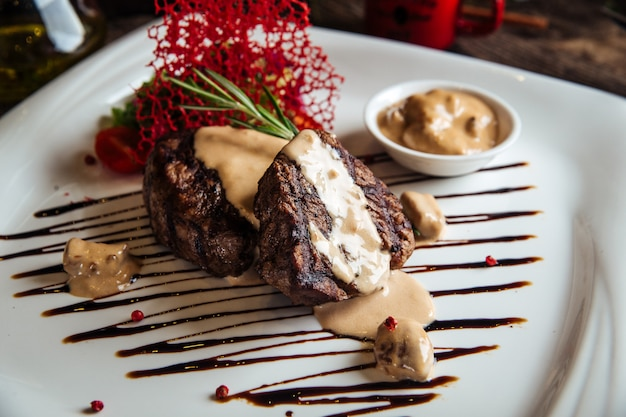 Appetizing decorated fillet mignon steak
