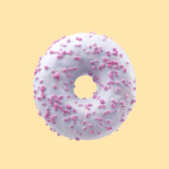 Appetizing donut in color glaze in candy. colored background.