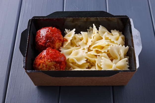 Appetizing food in boxes for corporate parties