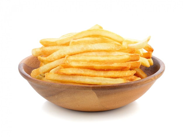 Appetizing french fries on a white