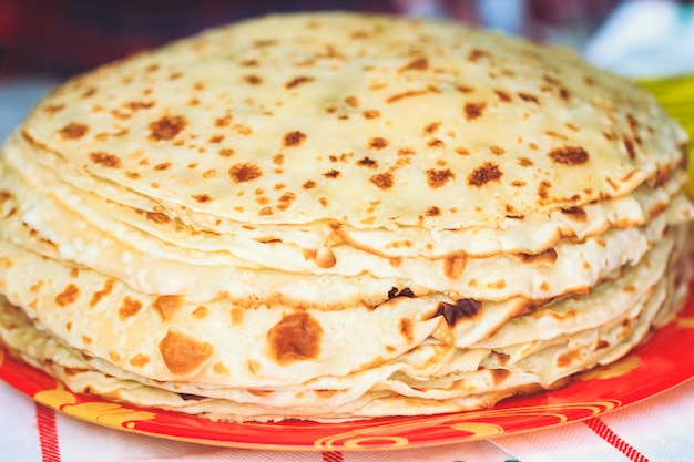 Appetizing fresh pancakes at shrovetide