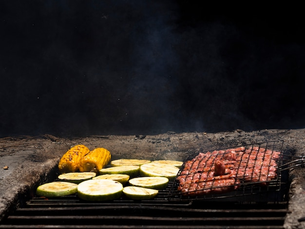 Appetizing grilling fresh vegetables and meat