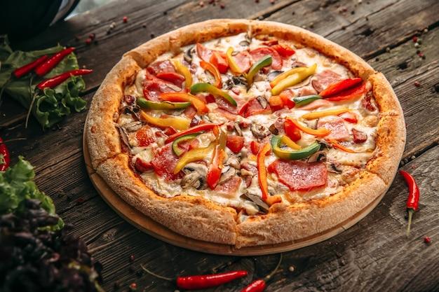 Appetizing italian capricciosa pizza