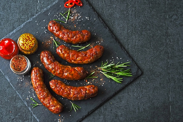 Appetizing meat sausages. bavarian sausages barbecue.