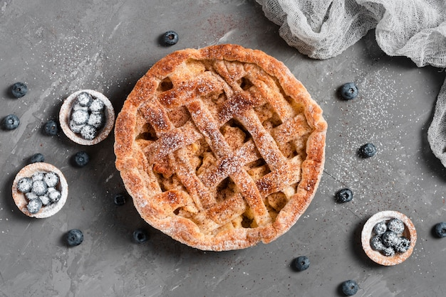 Appetizing pie and blueberries pastry