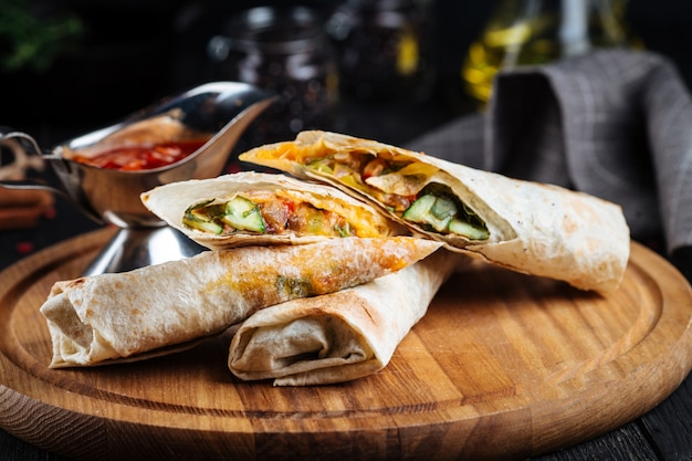 Appetizing pita bread rolls wraps