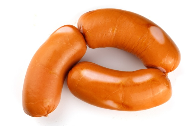 Appetizing sausages and meat sausages isolate