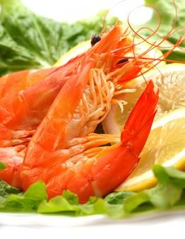 Appetizing shrimps on lettuce with lemon
