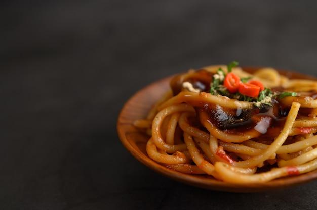 Appetizing spaghetti italian pasta with tomato sauce