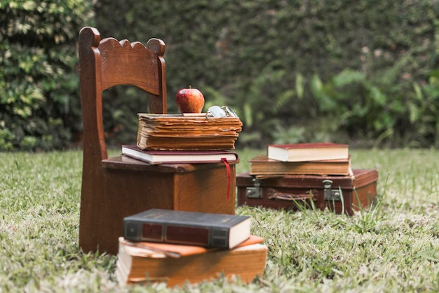 Apple and books on chair in garden